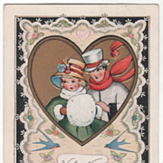 Young Couple Dressed in Winter Clothing Bluebirds Valentine Vintage Postcard