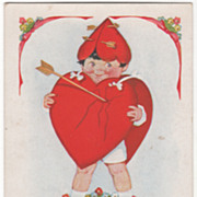 Child Dressed in Arrow-Pierced Red Hearts Valentine Vintage Postcard