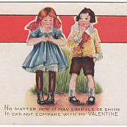 Girl Perusing Ring as Boy Watches Valentine Vintage Postcard