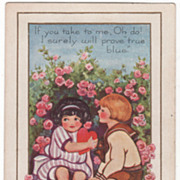 Girl Holds Red Heart and Sits with Boy on Bench Valentine Vintage Postcard