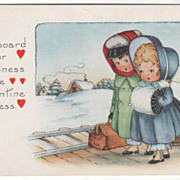 Snow Scene Two Girls Waiting for the Train Valentine Vintage Postcard
