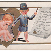 Child Policeman with Cupid in Handcuffs Valentine Vintage Postcard