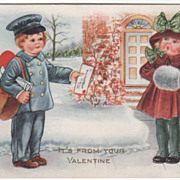 Boy Mailman Delivers Valentine to Girl Valentine Vintage Postcard