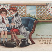 Boy Doctor Checking out Boy in Love Valentine Vintage Postcard