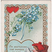 Boy in Rocking Chair Reading the Newspaper Valentine Vintage Postcard