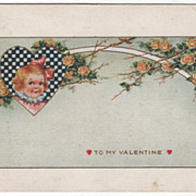 Girl in Checked Heart with Yellow Roses Valentine Vintage Postcard