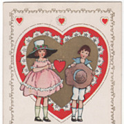 Girl Giving Red Heart to a Boy Valentine Vintage Postcard