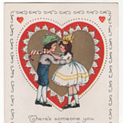 Girl and Boy with Hands on Each Others Shoulders Valentine Vintage Postcard