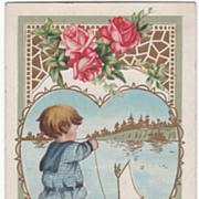 Boy with Toy Boat in Water Pink Roses Valentine Vintage Postcard