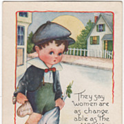 Boy with a Bag of Candy and a Bouquet for His Girl Valentine Vintage Postcard