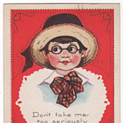 Freckled Boy with Straw Hat and Large Bow Tie Valentine Vintage Postcard