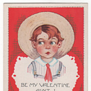 Freckled Boy in Straw Hat and Overalls Valentine Vintage Postcard