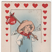 Vagabond Boy in Straw Hat and Overalls Valentine Vintage Postcard