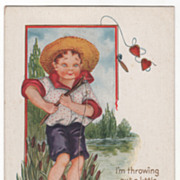 Boy Standing on a Rock Fishing to Catch Valentines Valentine Vintage Postcard