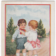 Girl Tying Bow Tie for a Boy Valentine Vintage Postcard