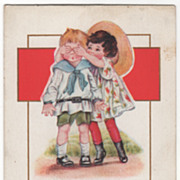 Girl with Her Hands over a Boy's Eyes Valentine Vintage Postcard