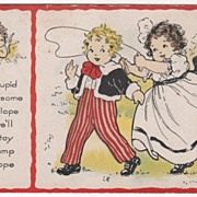 Girl Catching a Boy with a Jump Rope Valentine Vintage Postcard
