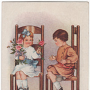 Girl Offering Pink Rose to a Bashful Boy Valentine Vintage Postcard