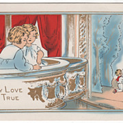 Boy and Girl in Balcony Box Watching a Play Valentine Vintage Postcard