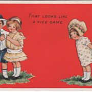 Little Girl Looking at Boy with Arm around Girl's Shoulder Valentine Vintage Postcard