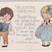 Boy Checking His Bills as a Girl Watches Valentine Vintage Postcard