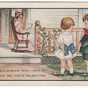 Mother on Porch Boy and Girl in Yard Valentine Vintage Postcard