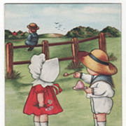 Boy Sitting on Fence Boy on Ground Offering Girl Food Valentine Vintage Postcard