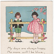 "Boy and Girl with Wooden Fence between Them ""Valentine Greetings"" Valentine Vintage"