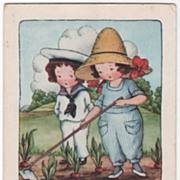Girl Hoeing with Boy beside her In Garden Valentine Vintage Postcard