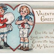 Girl with a Muff  Boy in a Sailor Suit Valentine Vintage Postcard