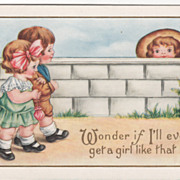 Boy Looking over Stone Fence at Couple Walking Hand-in-hand Valentine Vintage Postcard