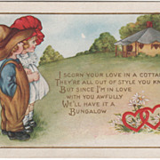 Boy and Girl Standing Looking at a Bungalow Valentine Vintage Postcard