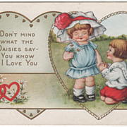 Little Girl with Daisies Little Boy Kneeling Valentine Vintage Postcard
