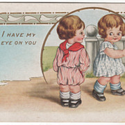 Little Boy and Girl Looking at Each Other Valentine Vintage Postcard