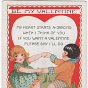Boy and Girl Dancing around Together Valentine Vintage Postcard