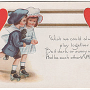Boy and Girl Roller Skating Together Valentine Vintage Postcard