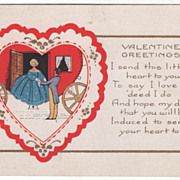 Couple Climbing Down from a Heart Shaped Carriage Valentine Vintage Postcard