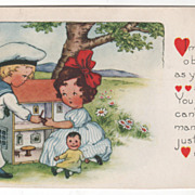 Boy and a Girl Playing with a Dollhouse Valentine Vintage Postcard