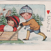 Boy Pushing Girl in a Box Sled Valentine Vintage Postcard