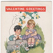 Boy Leaning on Rocks Girl with a Daisy Valentine Vintage Postcard