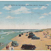 Looking South on the Beach Daytona Beach FL Vintage Postcard