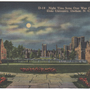 Night over West Campus Duke University Durham NC North Carolina Vintage Postcard