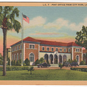Post Office from City Park Lake City FL Florida Vintage Postcard