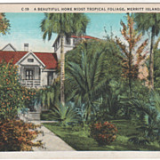 Beautiful Home Merritt Island Cocoa FL Florida Vintage Postcard