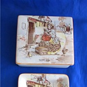 New Hall Pottery Sairey Gamp Cigarette Box and Ashtray