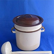 Enamelware Brown Double Boiler with Brown Ladle or Dipper