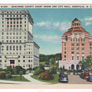 Bumcombe County Court House and City Hall Asheville NC North Carolina Vintage Postcard