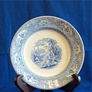 Cotton and Barlow Medina Light Blue and White Transferware Deep Plate