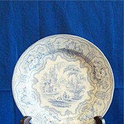 R. Cochran and Co. Syria Light Blue and White Transferware Plate