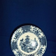 Blue and White Plate Chinese Pattern Allerton's Ltd.